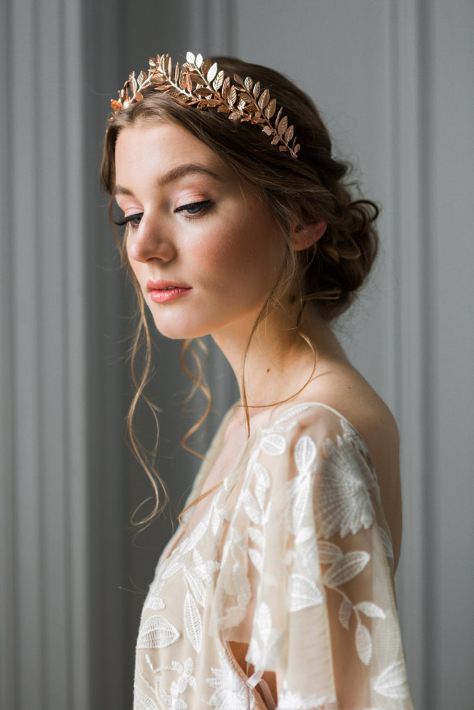 Bride wearing a gold laurel leaf tiara