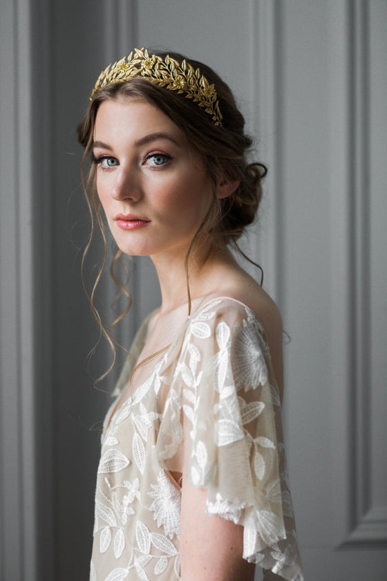 Bride wearing a gold edwardian leaf tiara