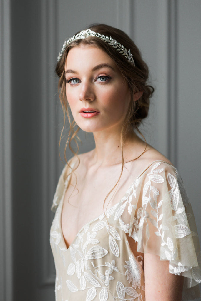 Bride wearing a silver edwardian leaf tiara