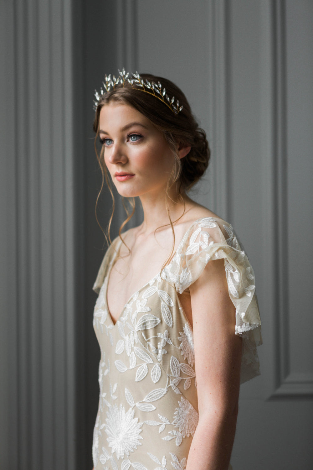 Bride wearing a crystal leaf tiara