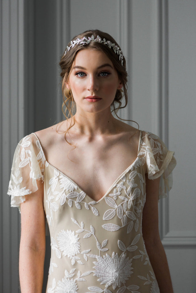 Bride wearing a silver leaf bridal tiara