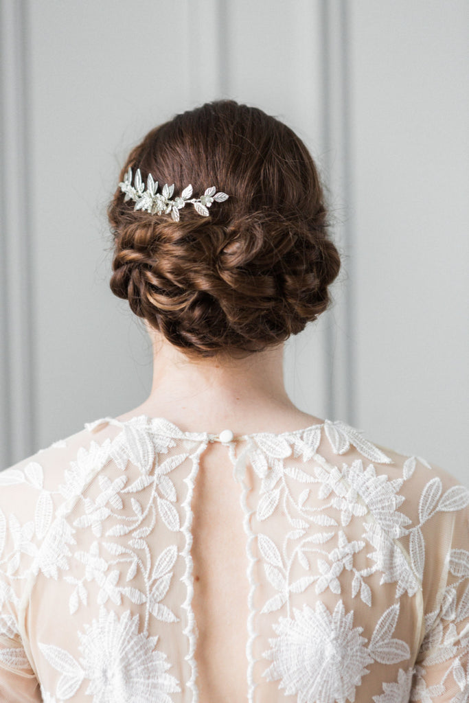 Bride wearing a silver leaf bridal hair comb