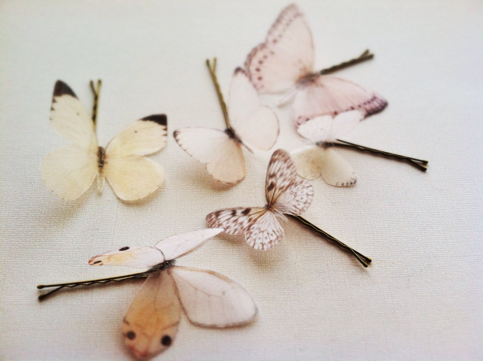 Silk organza butterfly bridal hair pins