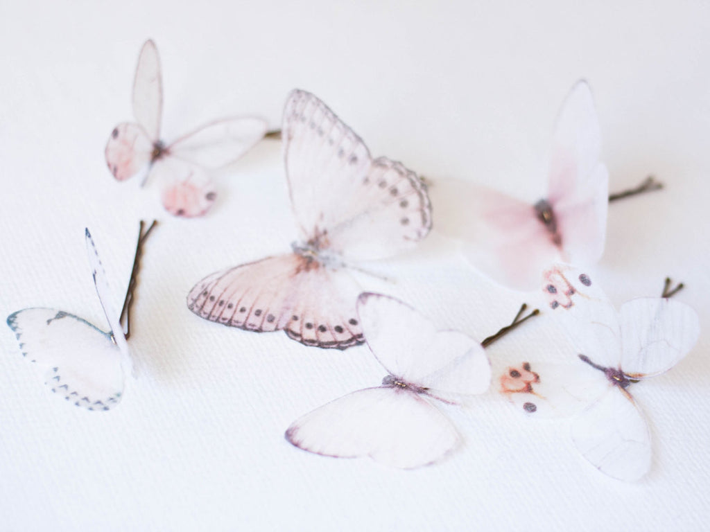 6 Silk Organza Butterfly Hairpins #215