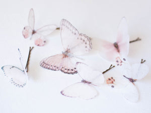 Silk orgnanza butterfly bridal hairpins