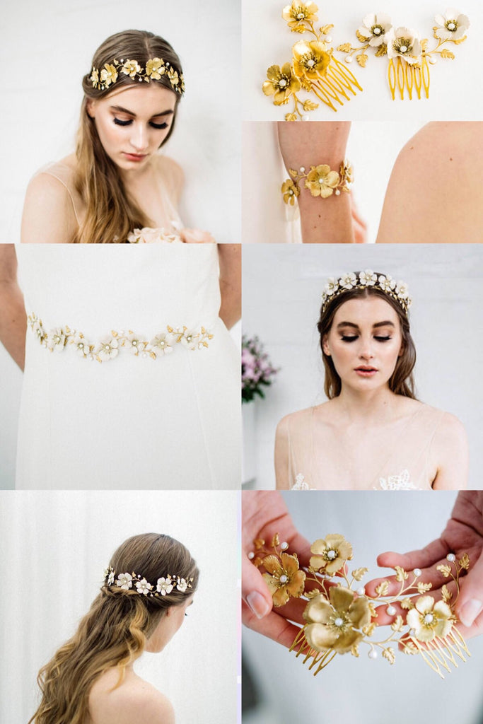 a collection of wedding accessories featuring gold leaves and flowers