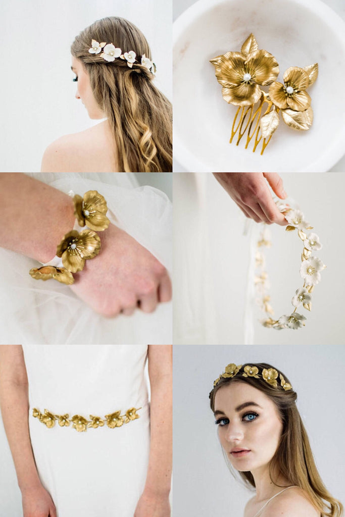 Collage of a floral bridal accessories collection