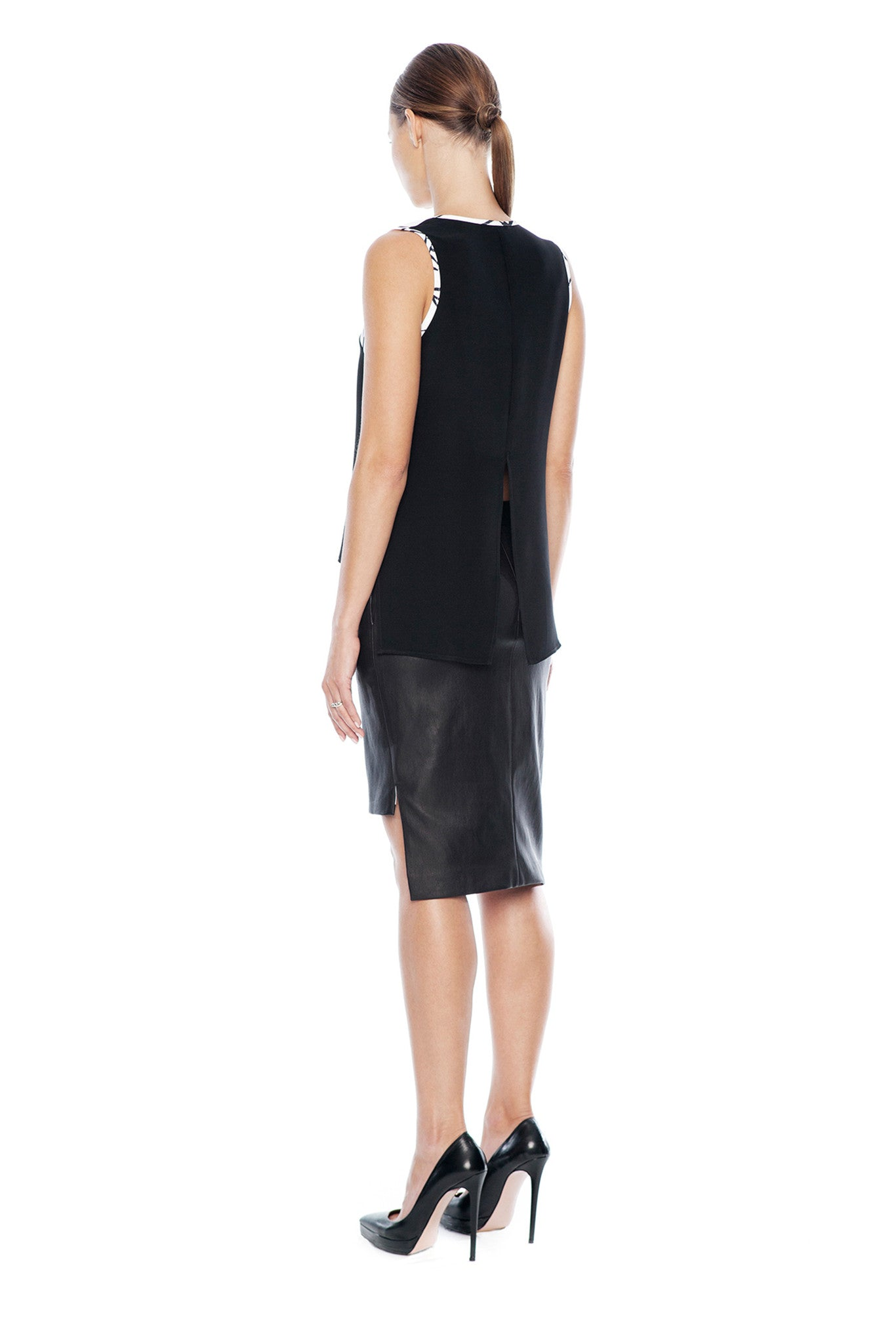 KARIGAM ASYMMETRIC LEATHER HITHER SKIRT