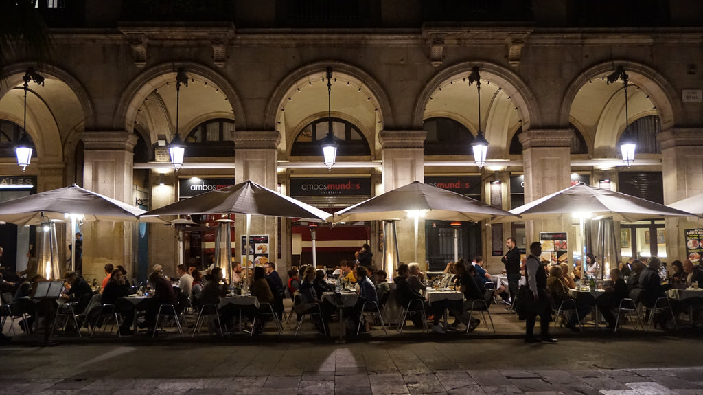 Night Scene of a Plaza in the Gothic Quarter of Barcelona, Spain