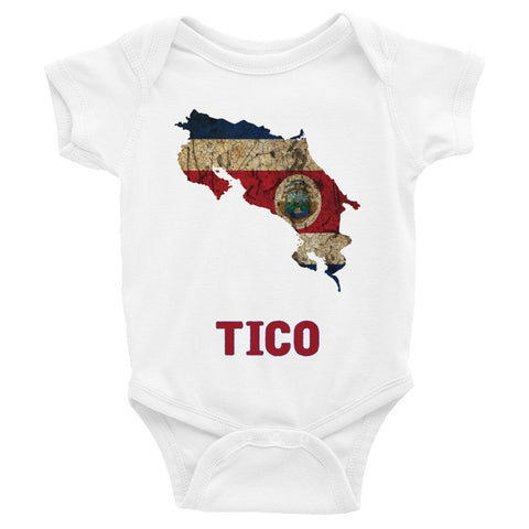 "The Costa Rican ""TICO"" Flag Baby Short Sleeve One-Piece"