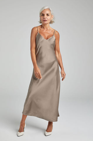 90s Silk Slip Dress Clay