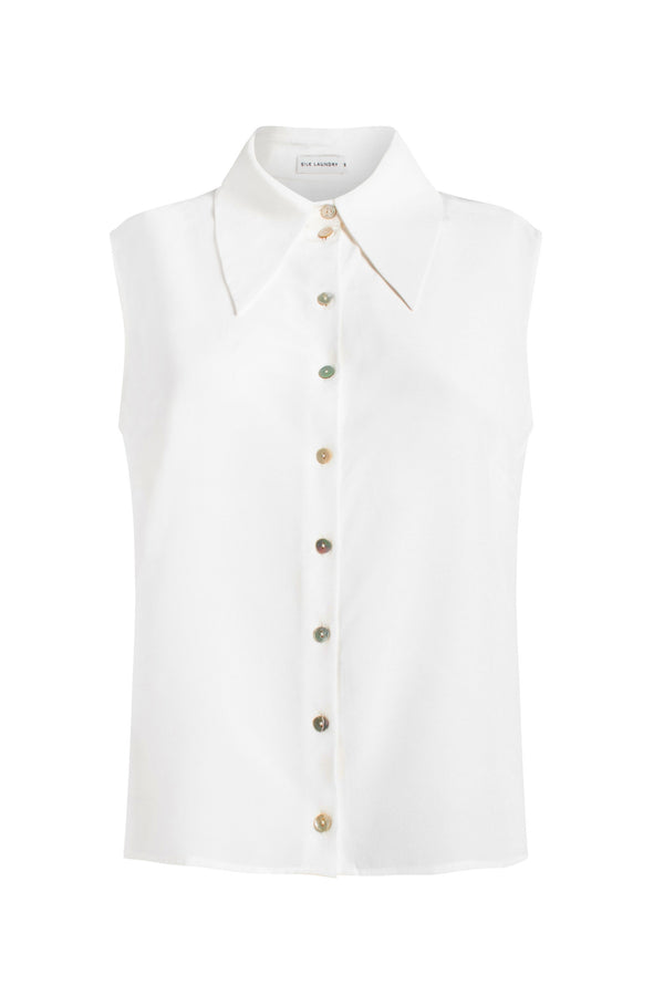 SLEEVELESS SHARP COLLAR SHIRT WHITE