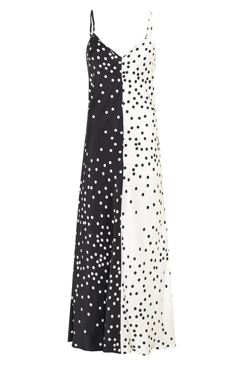 TWO-TONE DRESS BROKEN DOT