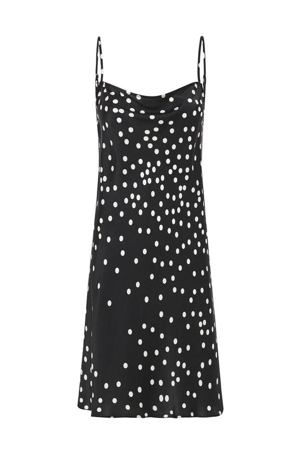 STRAIGHT NECK DRESS BROKEN DOT
