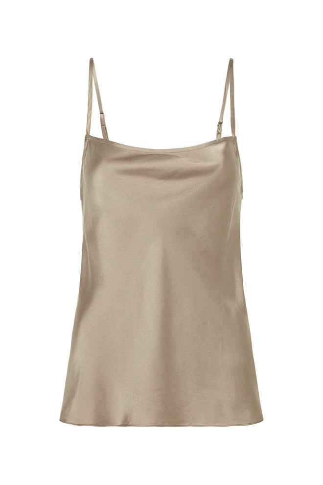 STRAIGHT NECK CAMI DARK CLAY