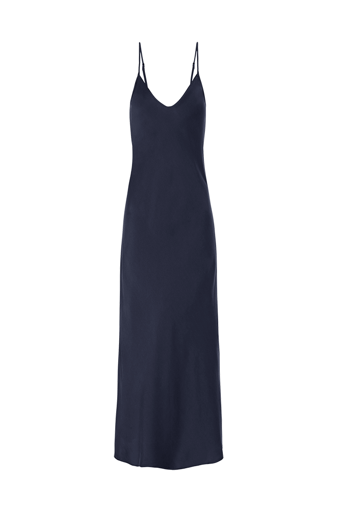 90S SILK SLIP DRESS NAVY