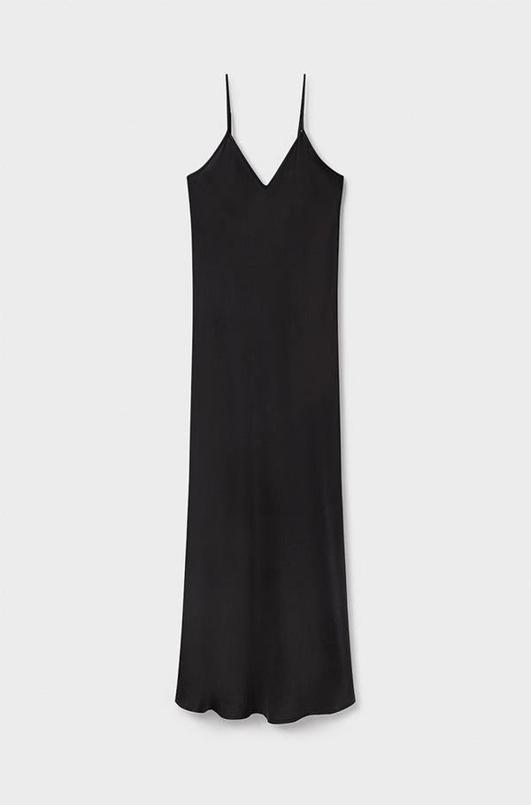 90S SILK SLIP DRESS BLACK