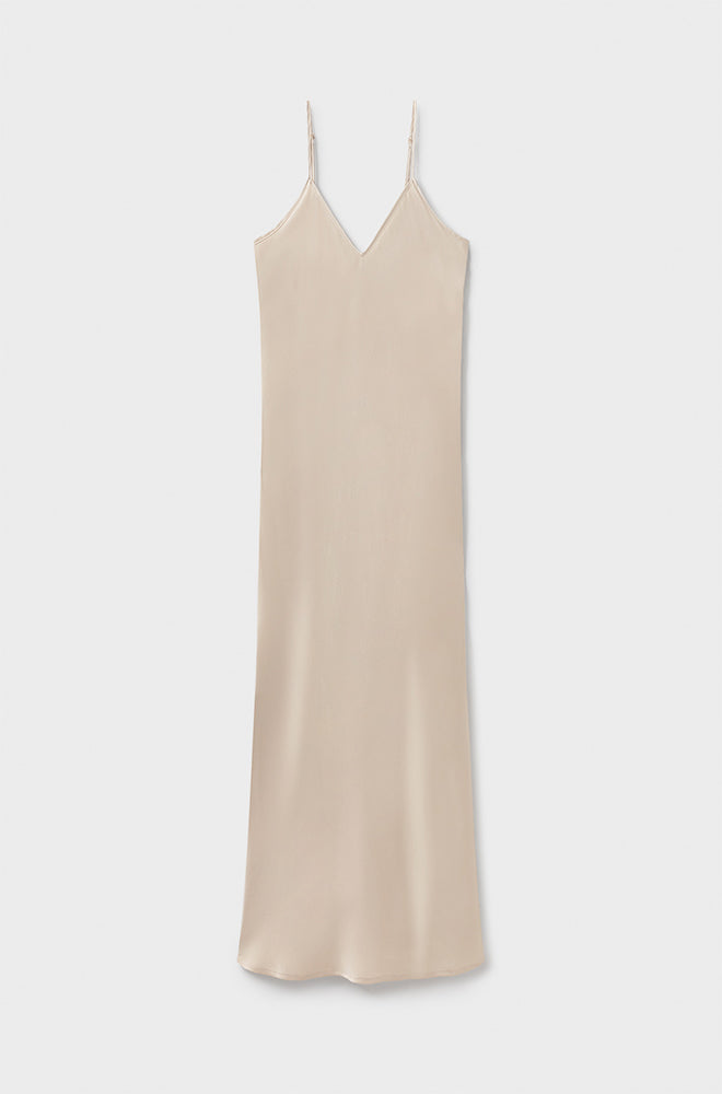 90S SILK SLIP DRESS HAZELNUT