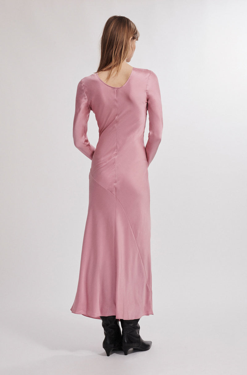 FULL SLEEVE BIAS CUT DRESS PINK