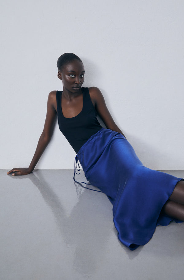 ASYMMETRIC SKIRT DEEP BLUE