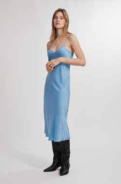 90S PEARL SILK SLIP DRESS AIRY BLUE