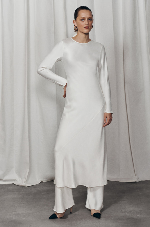 BRIDAL FULL SLEEVE BIAS CUT DRESS