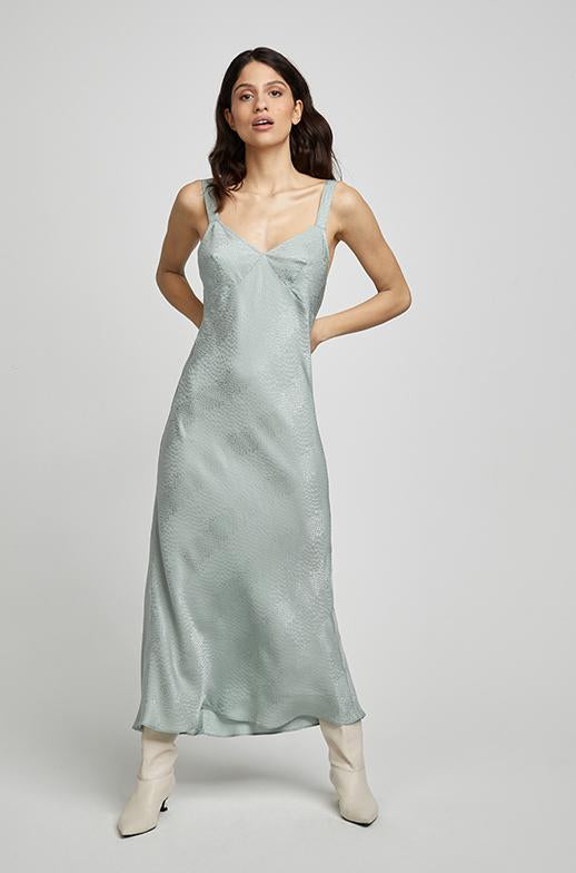 DECO SLIP DRESS EUCALYPTUS JACQUARD