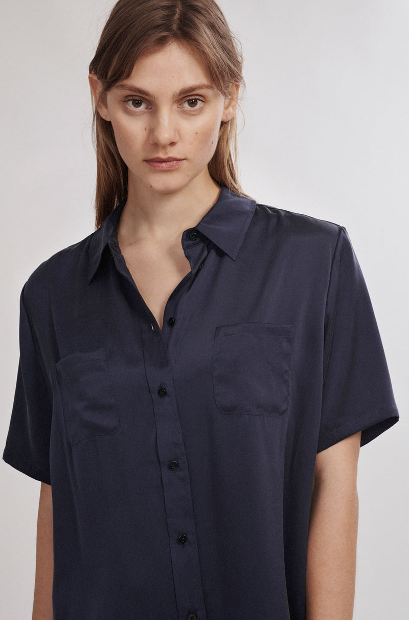 SHORT SLEEVE BOYFRIEND SHIRT NAVY