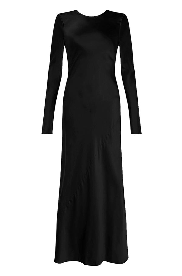 FULL SLEEVE BIAS CUT DRESS BLACK