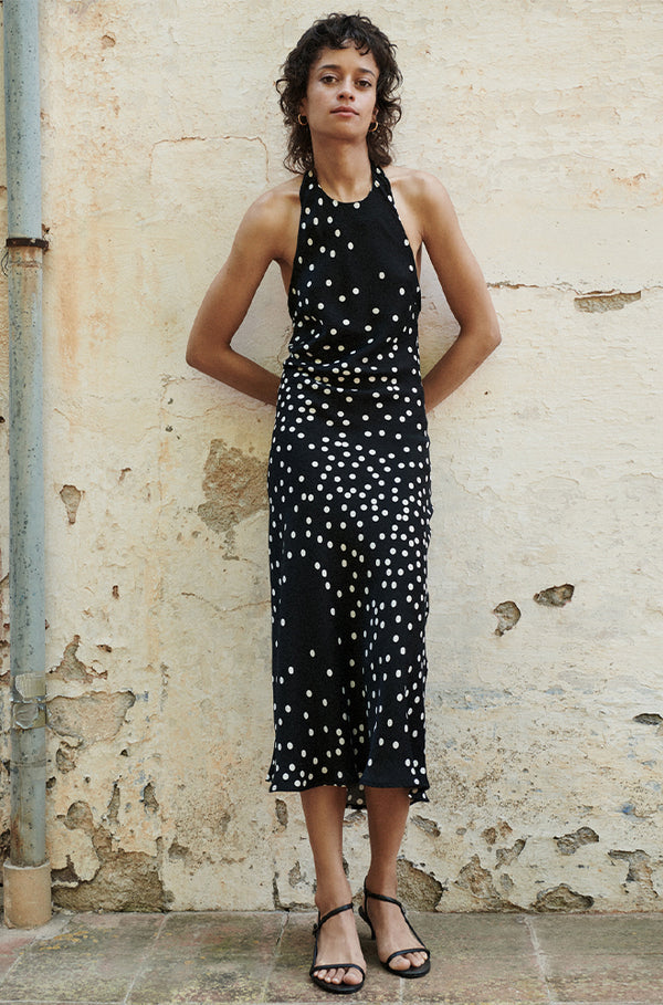 HALTER DRESS BROKEN DOT