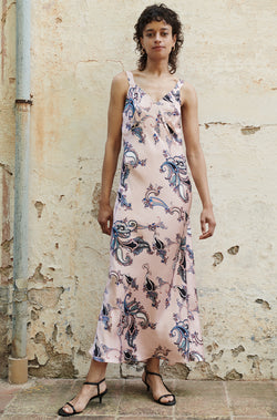 DECO SLIP DRESS PINK PAISLEY