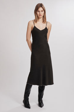 90S PEARL SILK SLIP DRESS BLACK