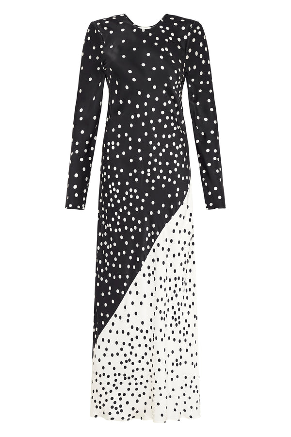 LONG SLEEVE TWO-TONE DRESS BROKEN DOT
