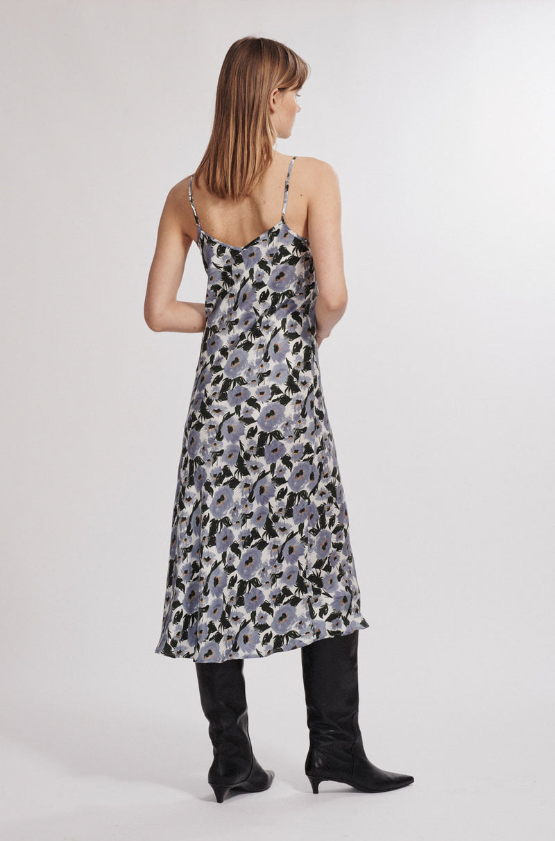 90S SILK SLIP DRESS FRENCH FLOWERS