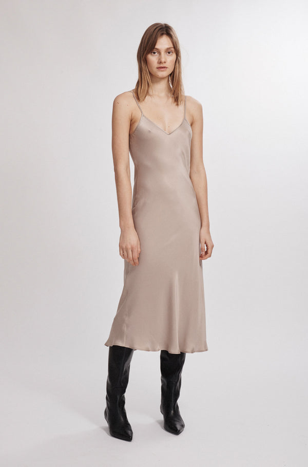 90S SILK SLIP DRESS ALUMINIUM