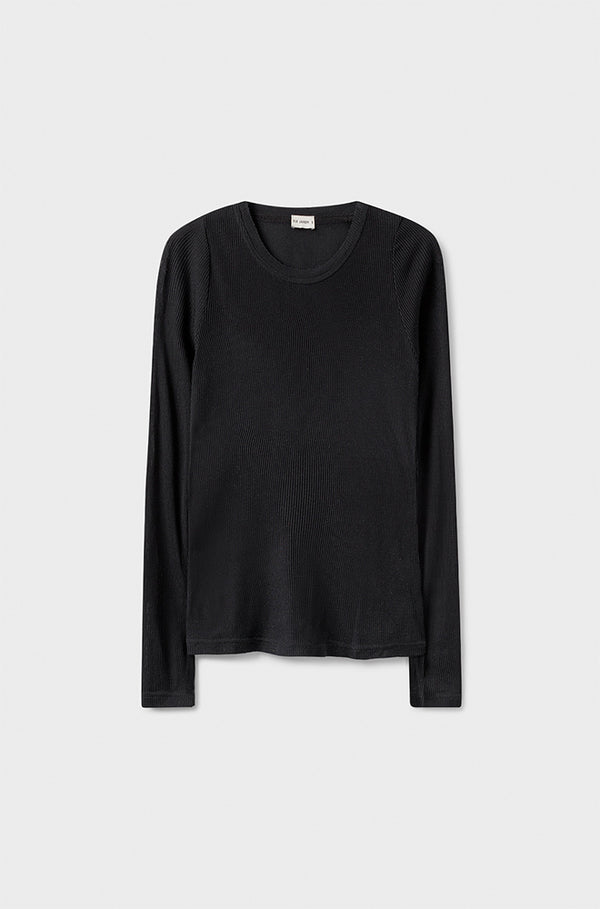 RIBBED LONG SLEEVE TOP BLACK