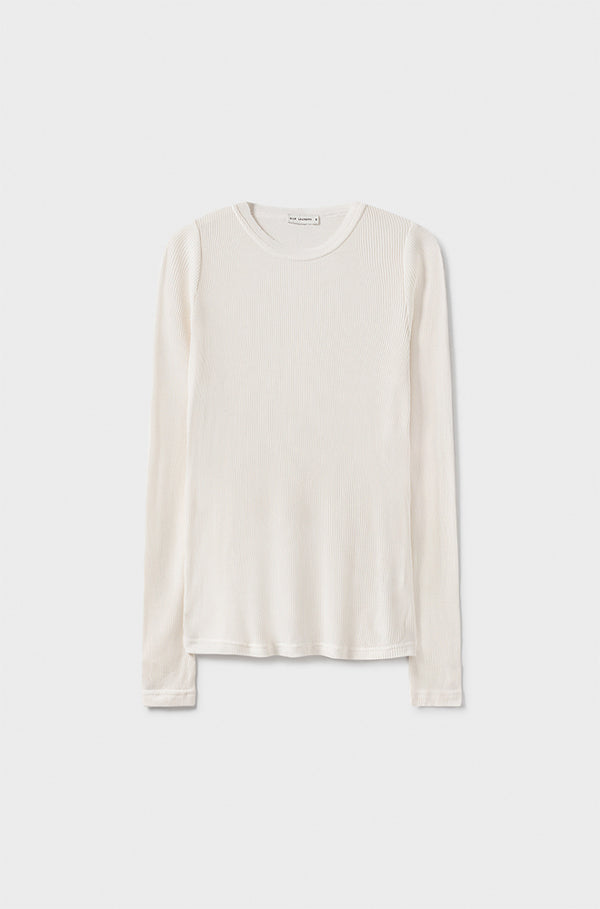 RIBBED LONG SLEEVE TOP WHITE