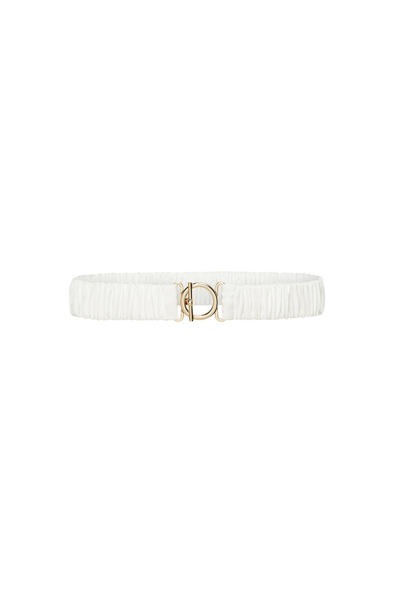 T BAR CLASP SILK BELT WHITE