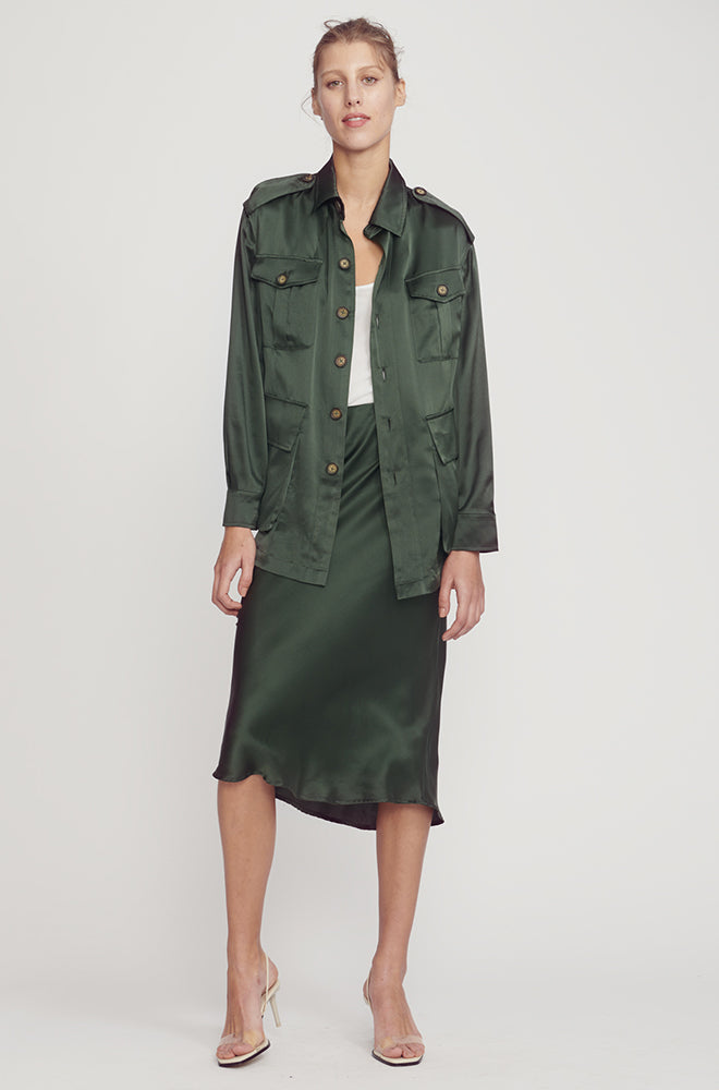 BIAS CUT SKIRT HUNTER GREEN