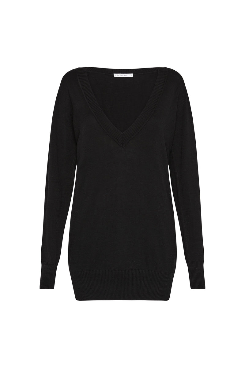 DEEP V SWEATER BLACK
