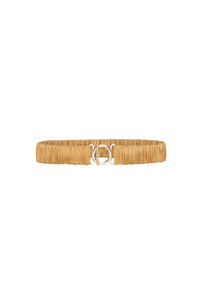 T BAR CLASP SILK BELT CAMEL