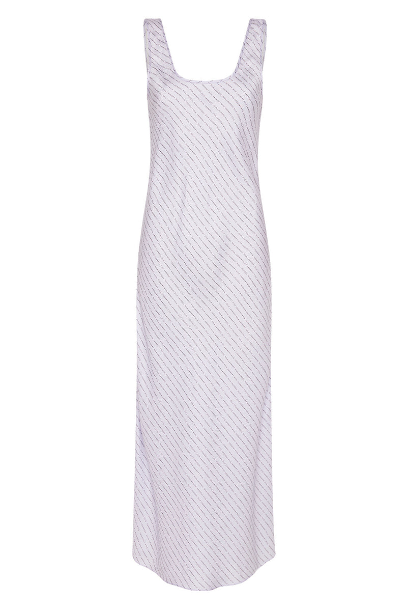 SCOOP NECK BIAS DRESS LILAC LOGO
