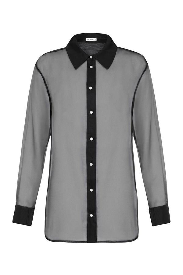 ORGANZA BOYFRIEND SHIRT BLACK