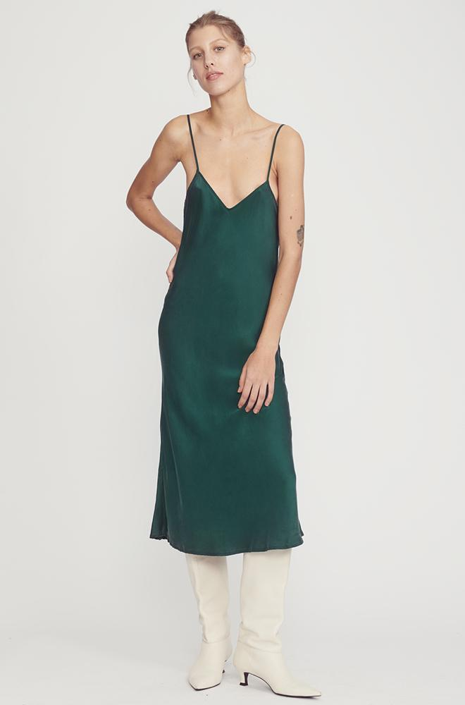 Classic Silk Slip Dress Emerald