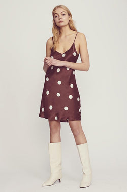 SHORT 90S SILK SLIP CHOCOLATE POLKA DOT