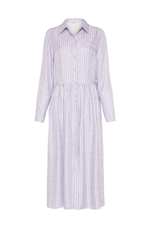 LONG BUTTON FRONT SHIRT DRESS LILAC LOGO