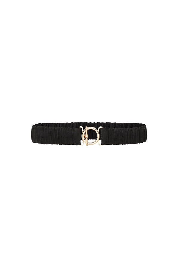 T BAR CLASP SILK BELT BLACK