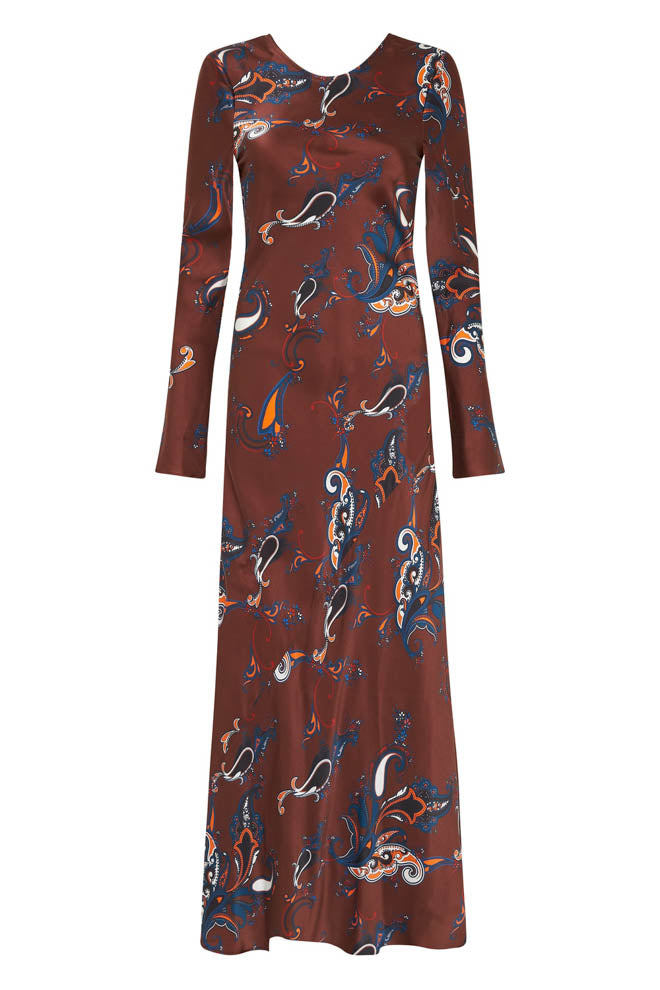 FULL SLEEVE BIAS CUT DRESS BROWN PAISLEY