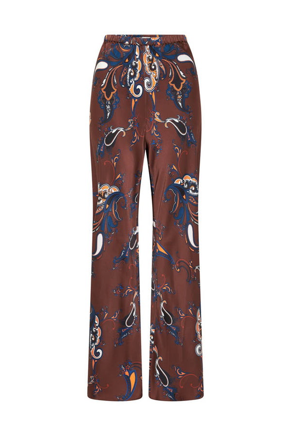 BIAS CUT PANTS BROWN PAISLEY