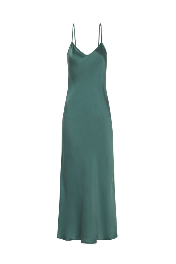 90S SILK SLIP DRESS EMERALD
